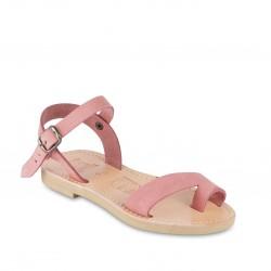 Sandalias para niña en piel nobuck rosa con cierre de hebilla