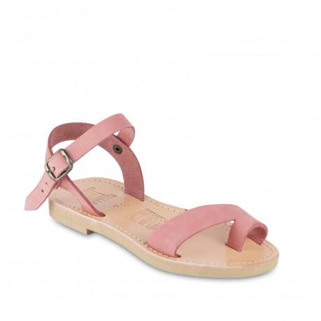 Sandalias para niña en piel de becerro fucsia con cierre de hebilla