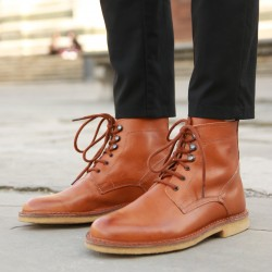 Women's tan leather ankle boots handmade in Italy