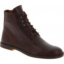Women's dark brown leather ankle boots handmade in Italy