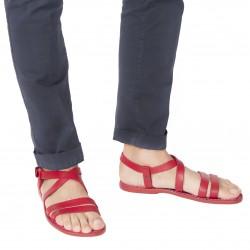 Sandalias romanas de cuero rojo hechos a mano