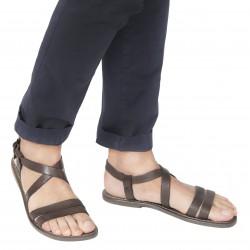 Sandalias franciscanas de cuero barro para hombre hechos a mano