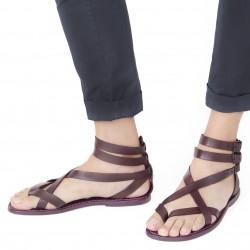 Sandale romane gladiateur homme en cuir prune artisanales