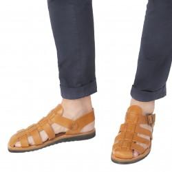 Sandali frate uomo in pelle color cuoio fatti a mano