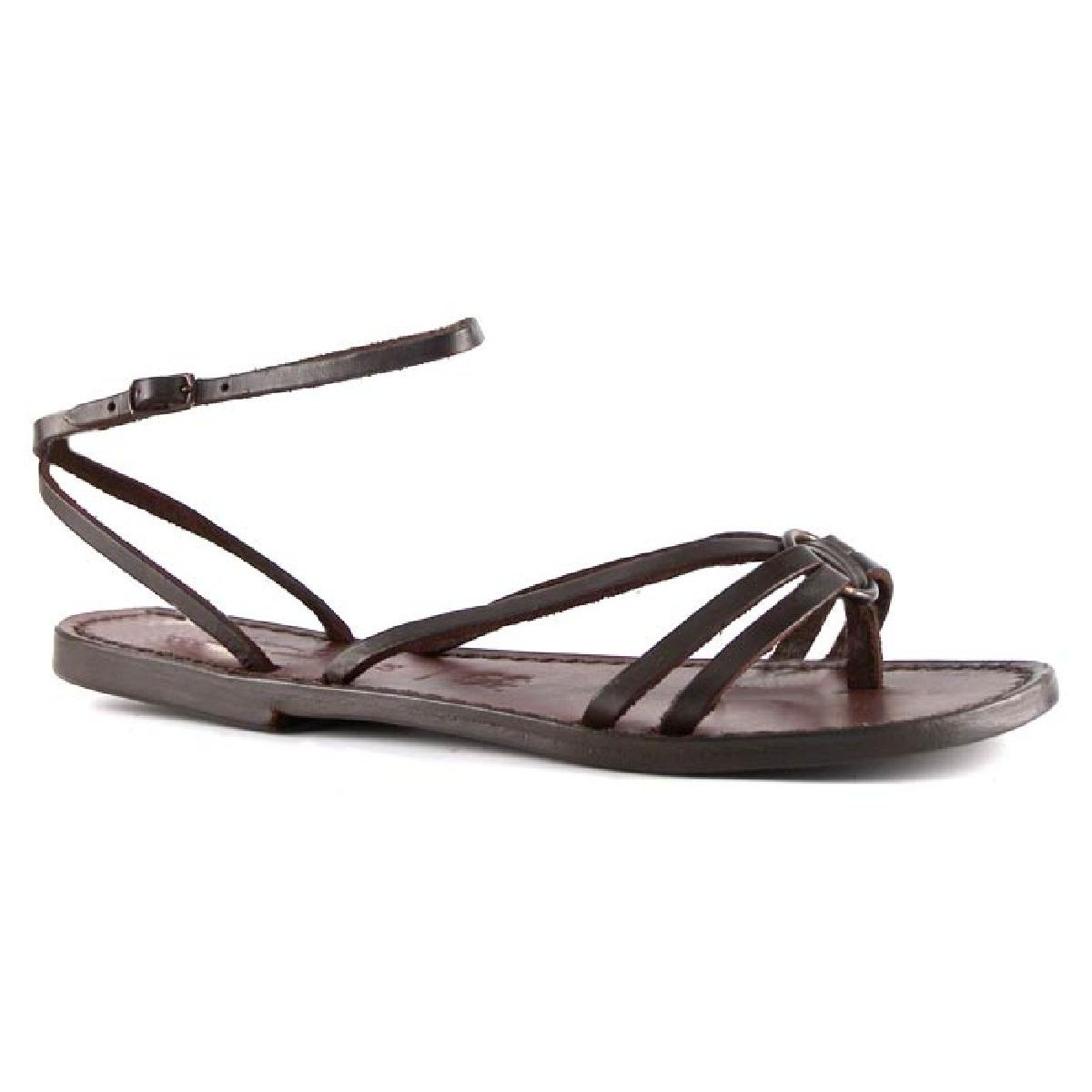 a59a2232caa9 Women sandals hand made in Italy in dark brown leather. Loading zoom