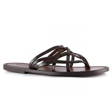 Handmade dark brown braid leather womens thongs and leather sole
