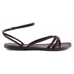 Fache sandalen damen aus dunkelbraunem Leder in Italien von Hand gefertigt
