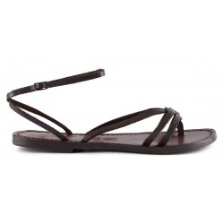 sandalias para mujeres hechas a mano en Italia en cuero marrón oscuro