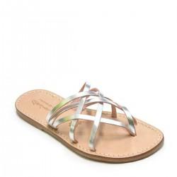 Correas planas sandalias con suela de cuero de plata hecha a mano para mujeres