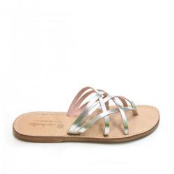 Nu-pieds femme en cuir argent fait main
