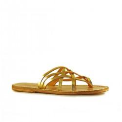 Sandales cuir artisanales femme couleur or fait main en Italie