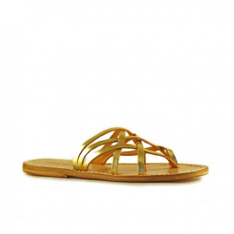 Handmade gold braid leather womens thongs with leather sole