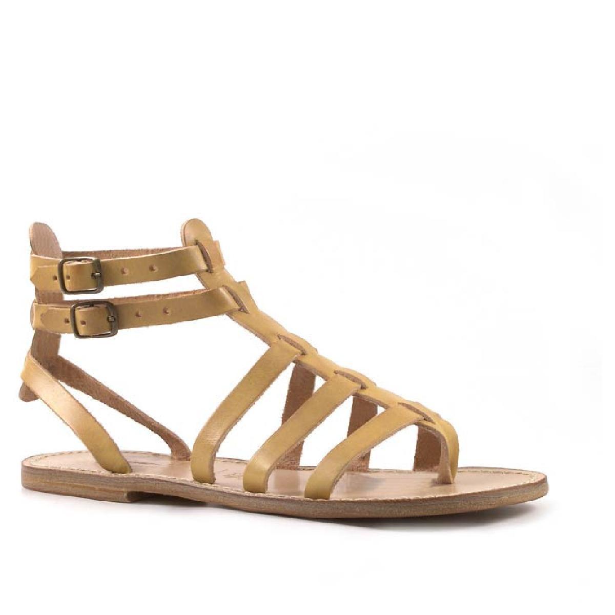 sandali gladiatore fatti a mano in italia in pelle colore avorio - Sandale Colore