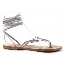 Sandales spartiates travaillé à la main en Italie pour femme en cuir blanc