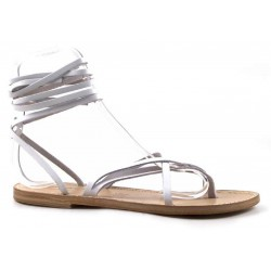 Womens strappy sandals Handmade in Italy in white leather