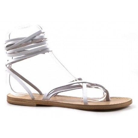 Damen Riemchen-Sandalen aus weißem Leder in Italien von Hand gefertigt